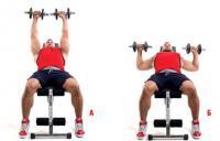 мужчина делает упражнения с гантелями на грудь
