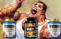 картинка с мужчиной и банками протеина